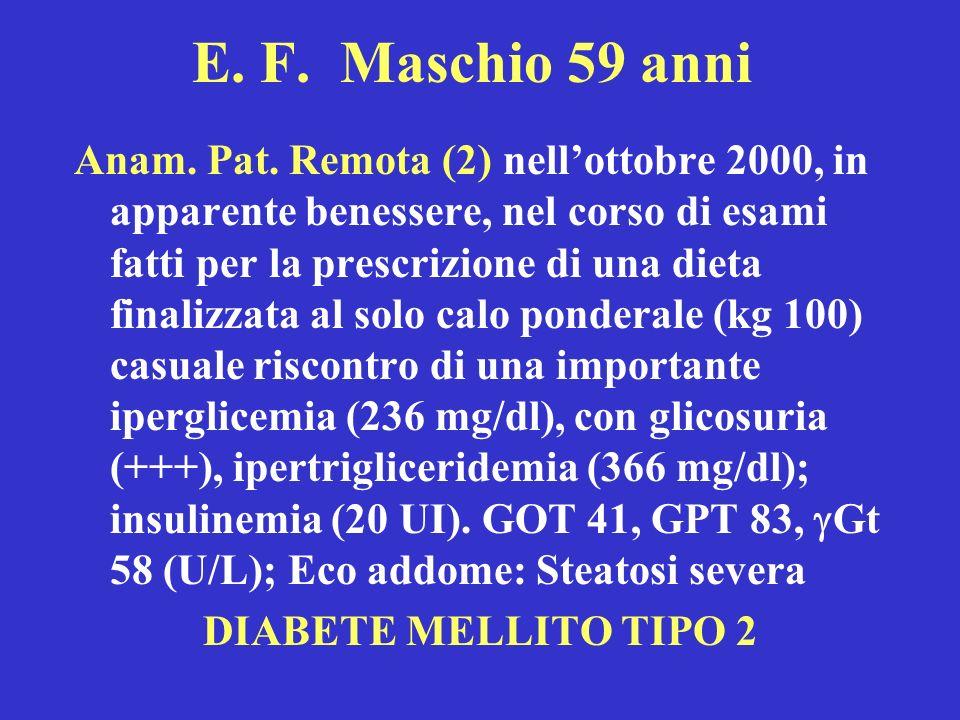 E. F. Maschio 59 anni Anam. Pat. Remota (2) nellottobre 2000, in apparente benessere, nel corso di esami fatti per la prescrizione di una dieta finali