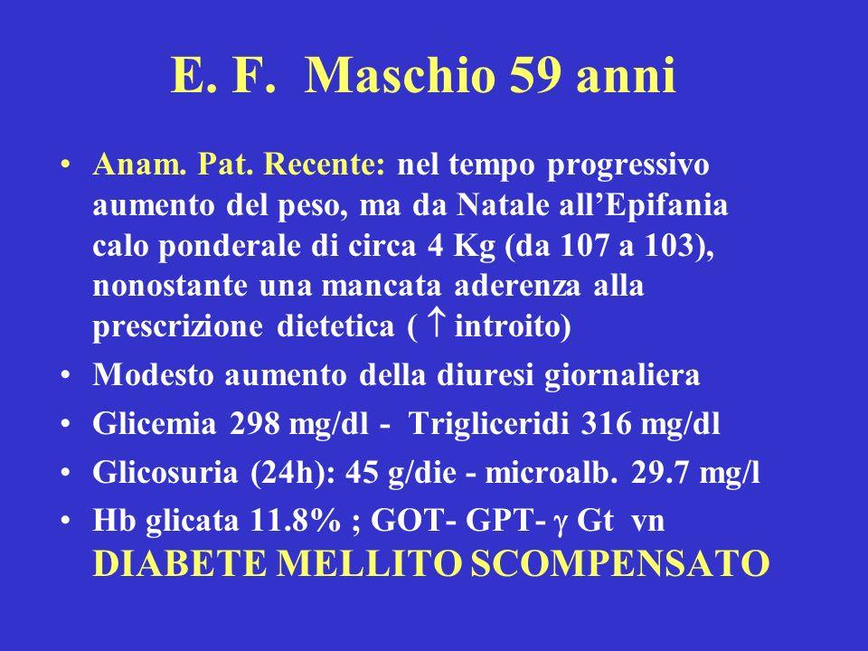 E. F. Maschio 59 anni Anam. Pat. Recente: nel tempo progressivo aumento del peso, ma da Natale allEpifania calo ponderale di circa 4 Kg (da 107 a 103)