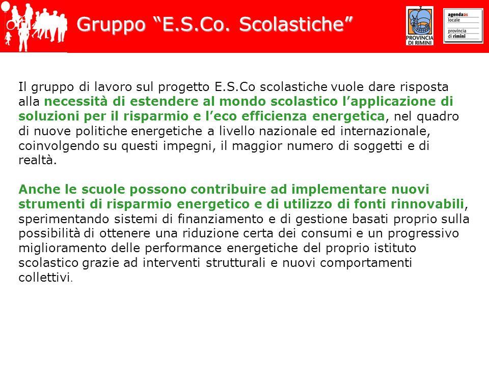 Gruppo E.S.Co. Scolastiche Il gruppo di lavoro sul progetto E.S.Co scolastiche vuole dare risposta alla necessità di estendere al mondo scolastico lap