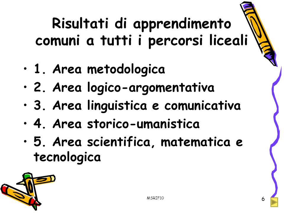 Risultati di apprendimento comuni a tutti i percorsi liceali 1. Area metodologica 2. Area logico-argomentativa 3. Area linguistica e comunicativa 4. A