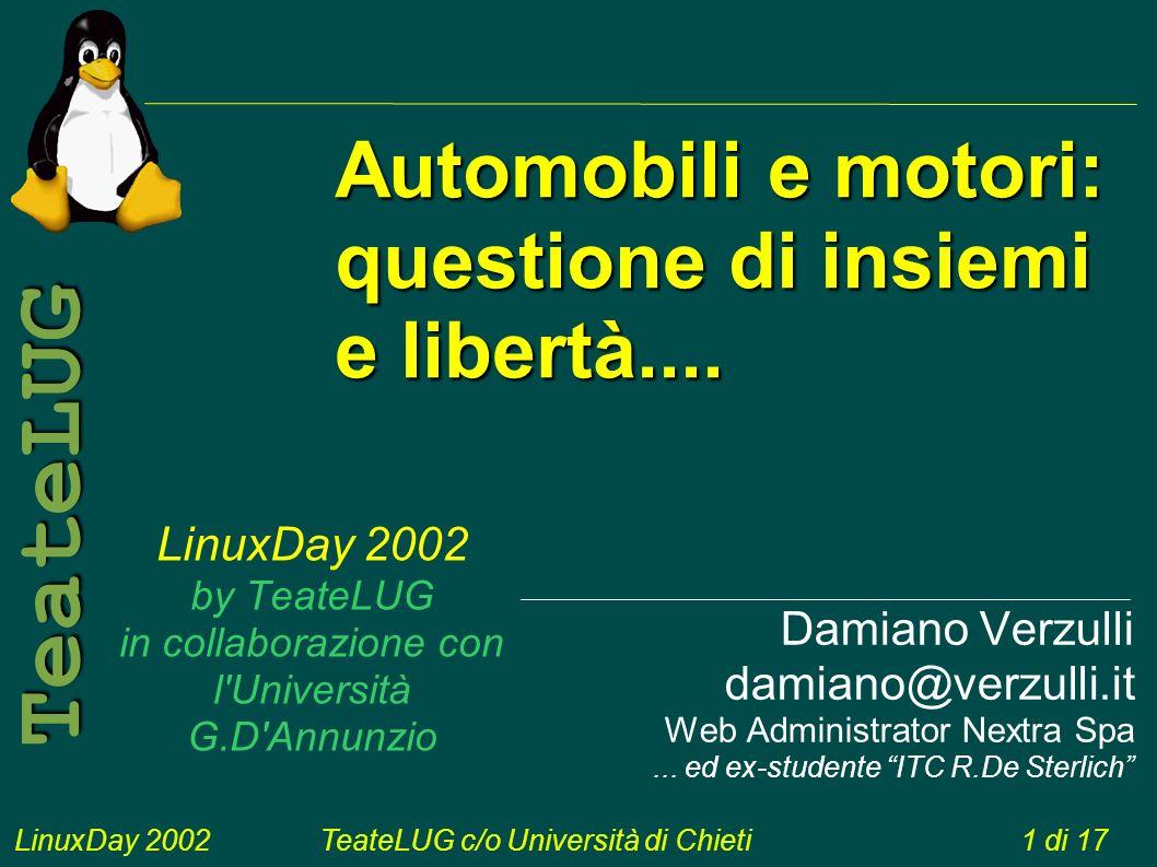 LinuxDay 2002TeateLUG c/o Università di Chieti1 di 17 TeateLUG LinuxDay 2002 by TeateLUG in collaborazione con l Università G.D Annunzio Damiano Verzulli damiano@verzulli.it Web Administrator Nextra Spa...