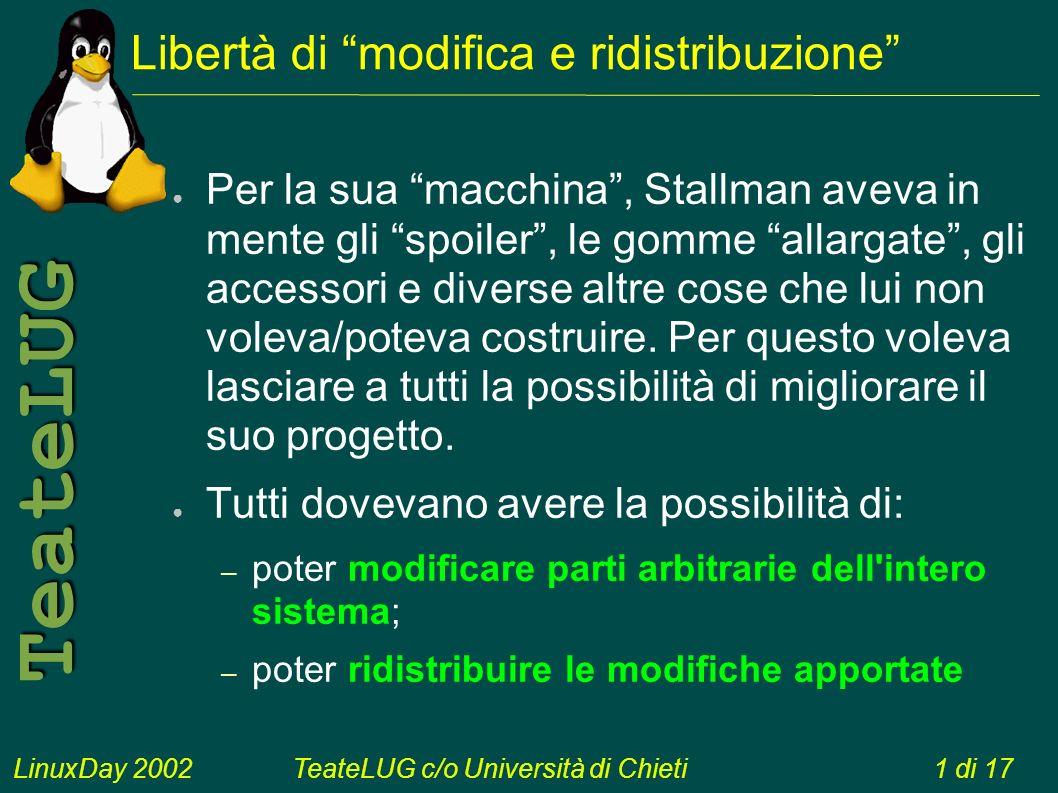 LinuxDay 2002TeateLUG c/o Università di Chieti1 di 17 TeateLUG Libertà di modifica e ridistribuzione Per la sua macchina, Stallman aveva in mente gli spoiler, le gomme allargate, gli accessori e diverse altre cose che lui non voleva/poteva costruire.