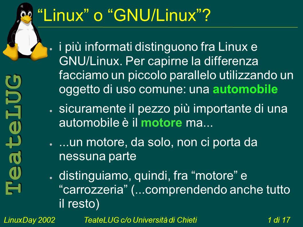 LinuxDay 2002TeateLUG c/o Università di Chieti1 di 17 TeateLUG Linux o GNU/Linux.