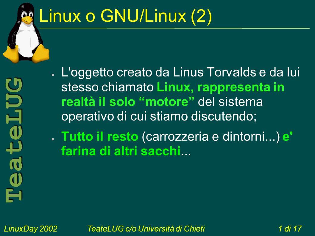 LinuxDay 2002TeateLUG c/o Università di Chieti1 di 17 TeateLUG L oggetto creato da Linus Torvalds e da lui stesso chiamato Linux, rappresenta in realtà il solo motore del sistema operativo di cui stiamo discutendo; Tutto il resto (carrozzeria e dintorni...) e farina di altri sacchi...