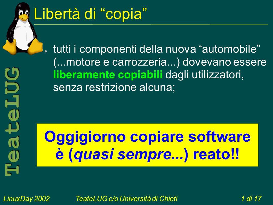 LinuxDay 2002TeateLUG c/o Università di Chieti1 di 17 TeateLUG Libertà di copia tutti i componenti della nuova automobile (...motore e carrozzeria...) dovevano essere liberamente copiabili dagli utilizzatori, senza restrizione alcuna; Oggigiorno copiare software è (quasi sempre...) reato!!