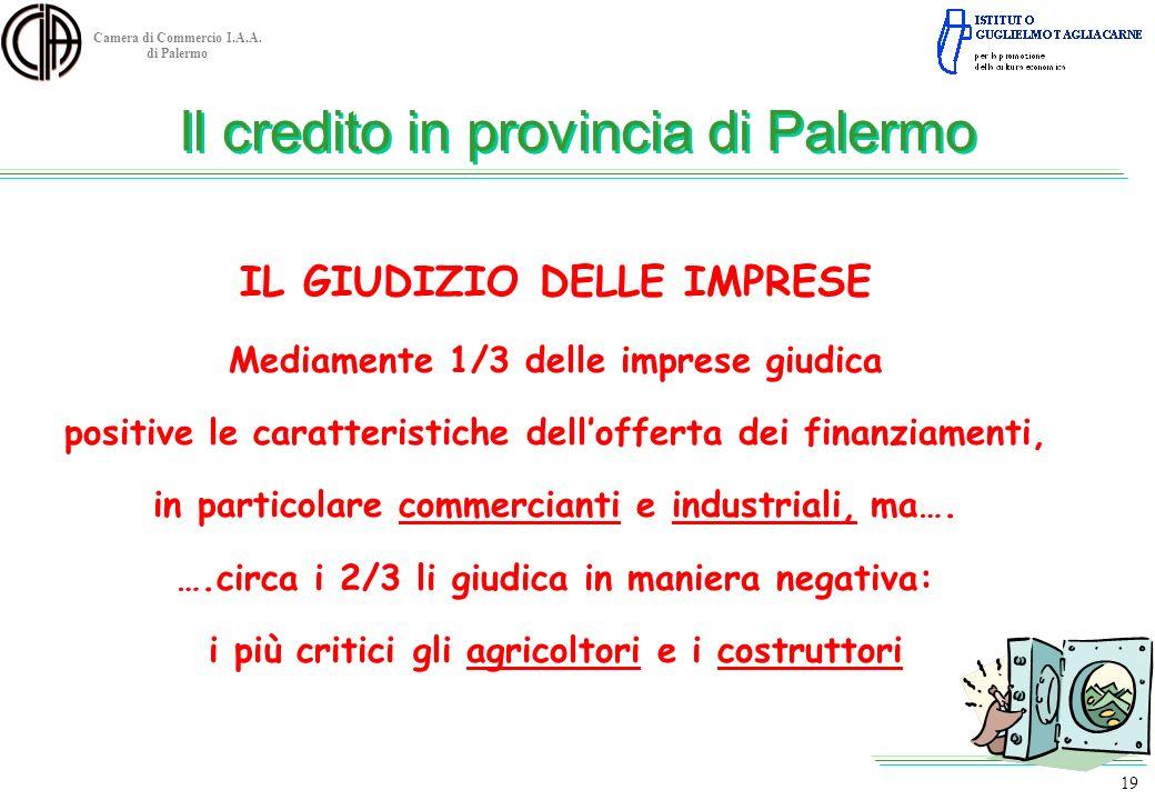 Camera di Commercio I.A.A. di Palermo IL GIUDIZIO DELLE IMPRESE Mediamente 1/3 delle imprese giudica positive le caratteristiche dellofferta dei finan