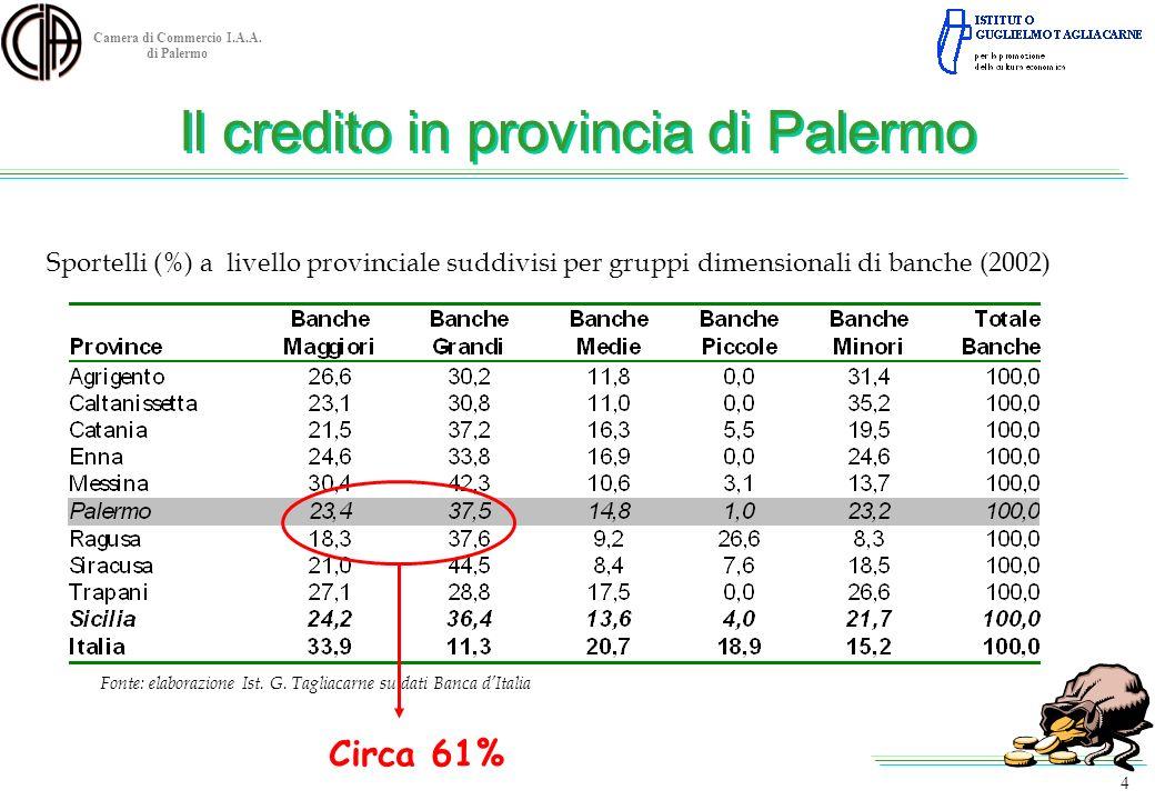 Camera di Commercio I.A.A. di Palermo 4 Sportelli (%) a livello provinciale suddivisi per gruppi dimensionali di banche (2002) Fonte: elaborazione Ist