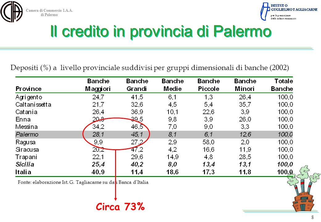 Camera di Commercio I.A.A. di Palermo Depositi (%) a livello provinciale suddivisi per gruppi dimensionali di banche (2002) Fonte: elaborazione Ist. G