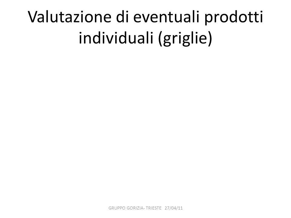 Valutazione di eventuali prodotti individuali (griglie) GRUPPO GORIZIA- TRIESTE 27/04/11