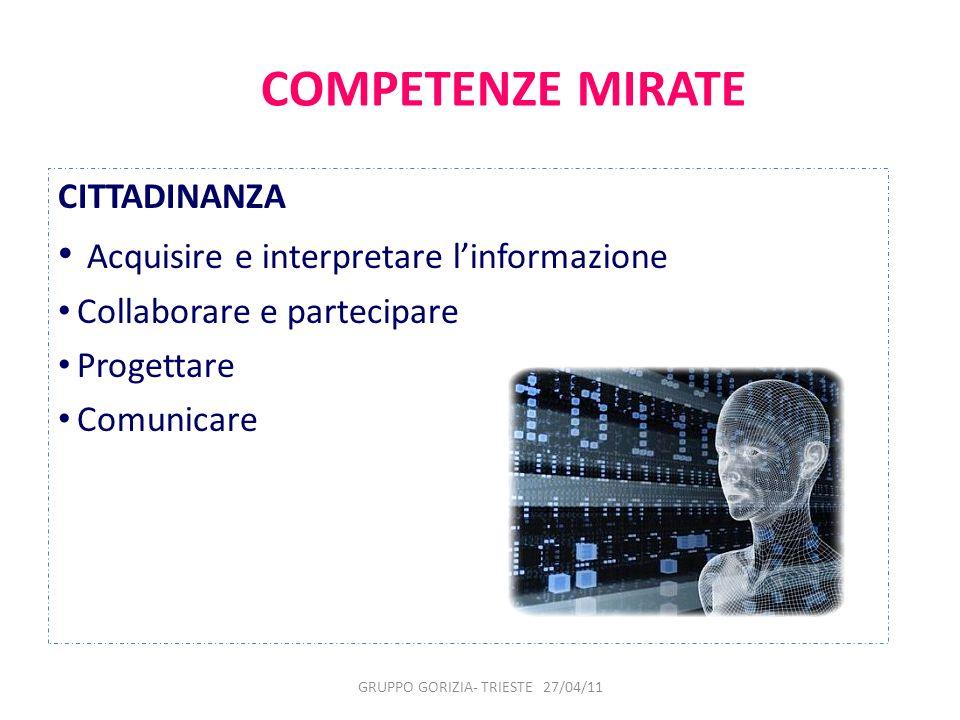 COMPETENZE MIRATE CITTADINANZA Acquisire e interpretare linformazione Collaborare e partecipare Progettare Comunicare GRUPPO GORIZIA- TRIESTE 27/04/11