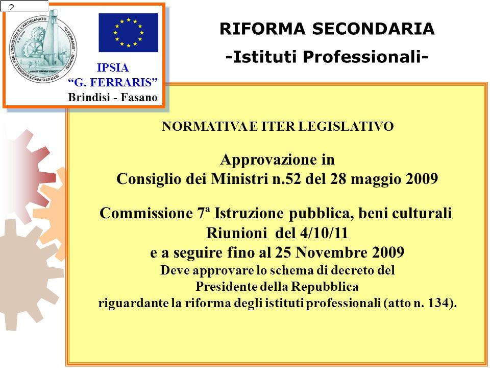IPSIA G. FERRARIS Brindisi - Fasano RIFORMA SECONDARIA -Istituti Professionali- NORMATIVA E ITER LEGISLATIVO Approvazione in Consiglio dei Ministri n.