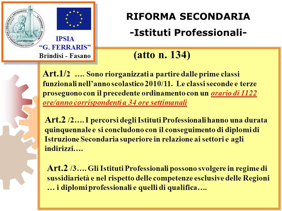 IPSIA G. FERRARIS Brindisi - Fasano RIFORMA SECONDARIA -Istituti Professionali- Art.1/ 2 …. Sono riorganizzati a partire dalle prime classi funzionali