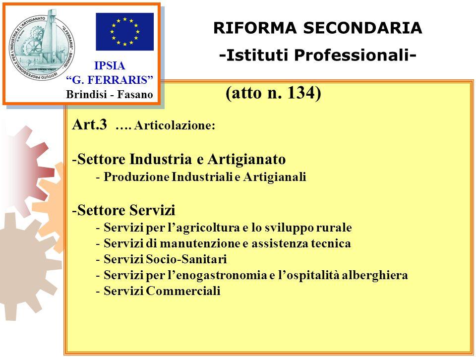 IPSIA G. FERRARIS Brindisi - Fasano RIFORMA SECONDARIA -Istituti Professionali- Art.3 …. Articolazione: -Settore Industria e Artigianato - Produzione