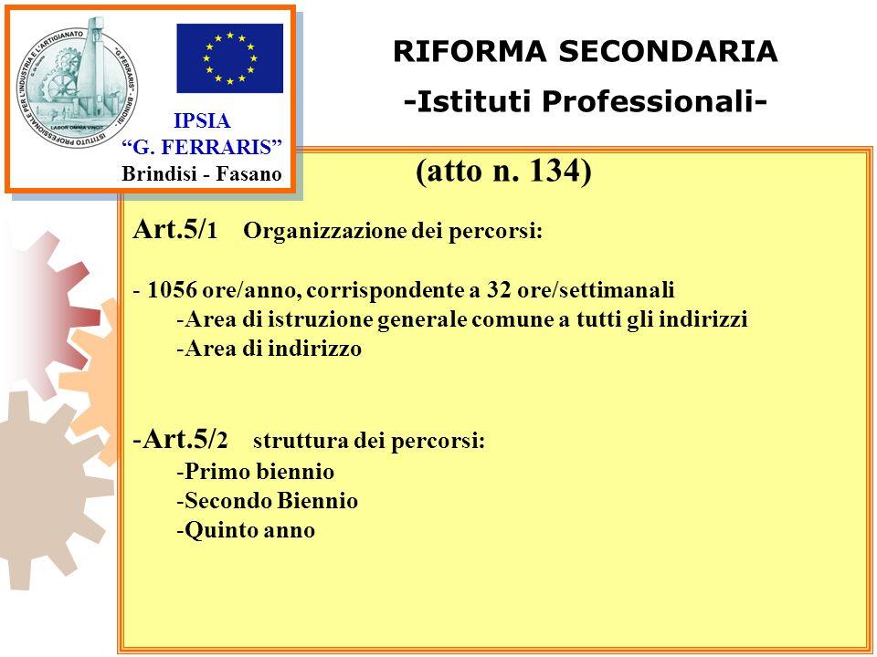 IPSIA G. FERRARIS Brindisi - Fasano RIFORMA SECONDARIA -Istituti Professionali- Art.5/ 1 Organizzazione dei percorsi: - 1056 ore/anno, corrispondente