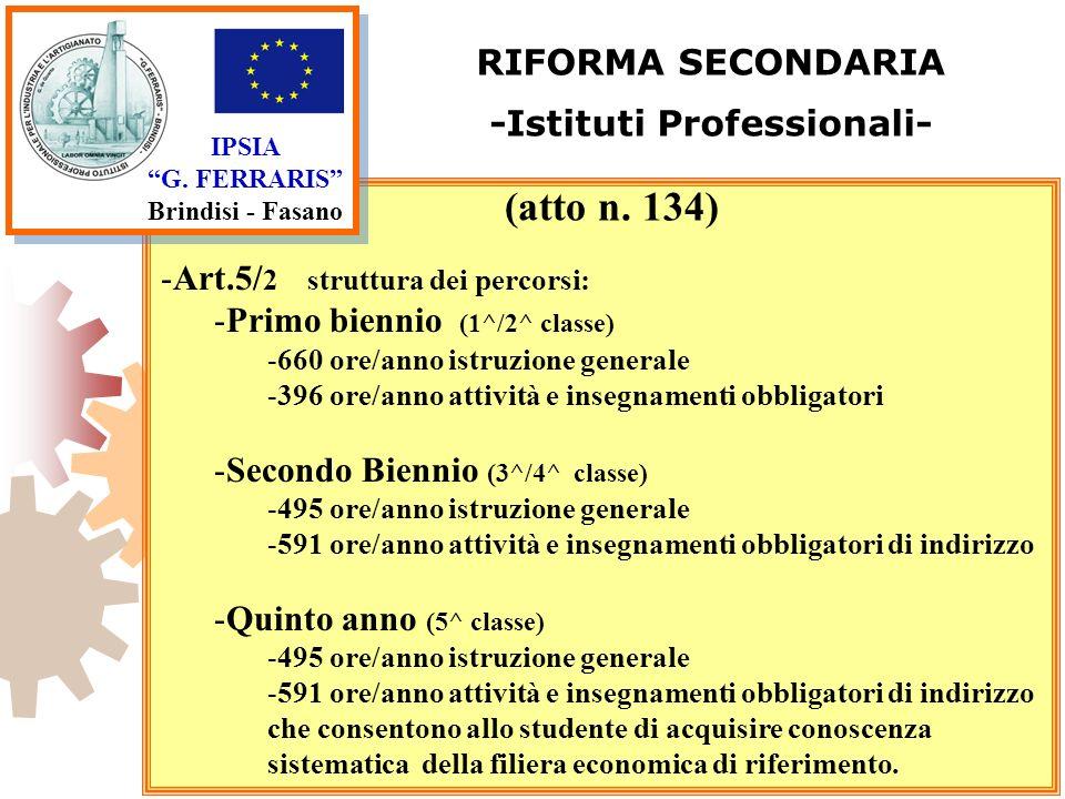 IPSIA G. FERRARIS Brindisi - Fasano RIFORMA SECONDARIA -Istituti Professionali- -Art.5/ 2 struttura dei percorsi: -Primo biennio (1^/2^ classe) -660 o