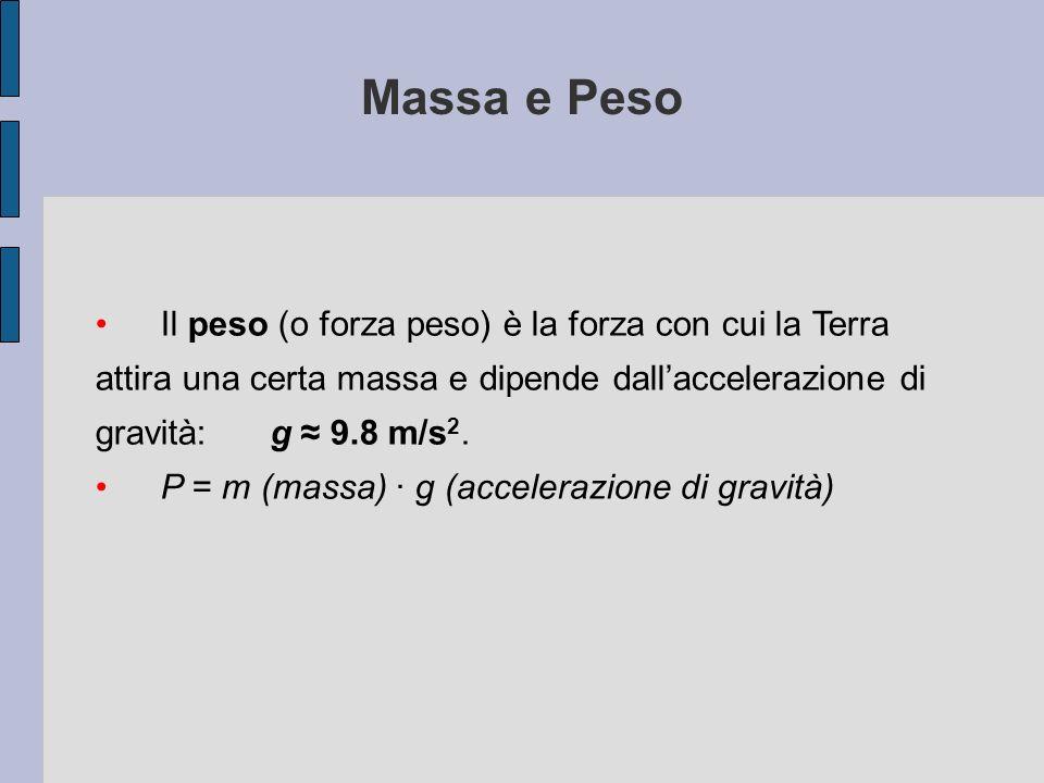 Il peso (o forza peso) è la forza con cui la Terra attira una certa massa e dipende dallaccelerazione di gravità: g 9.8 m/s 2. P = m (massa) g (accele