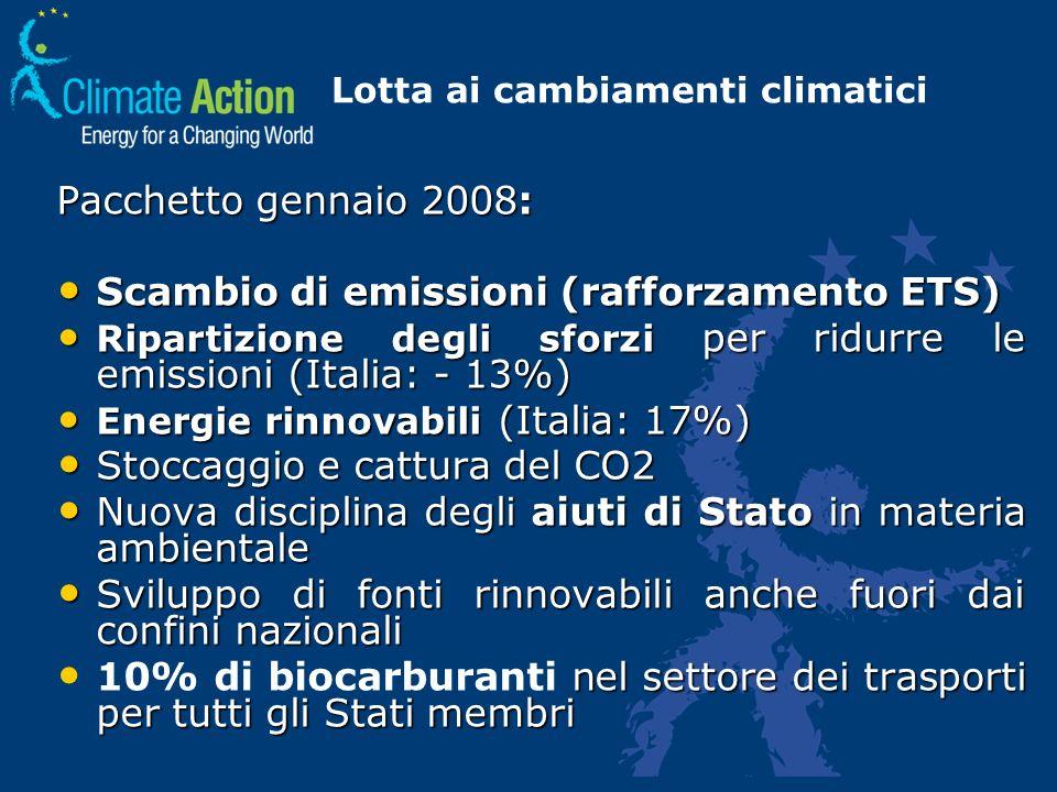Lotta ai cambiamenti climatici Pacchetto gennaio 2008: Scambio di emissioni (rafforzamento ETS) Scambio di emissioni (rafforzamento ETS) Ripartizione