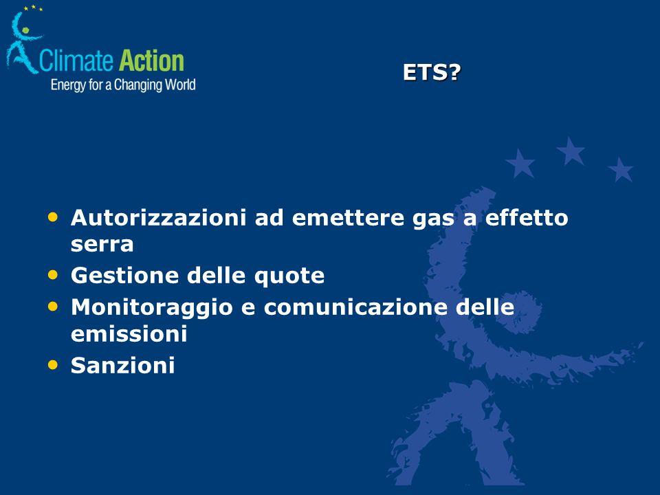 Autorizzazioni ad emettere gas a effetto serra Gestione delle quote Monitoraggio e comunicazione delle emissioni Sanzioni ETS?