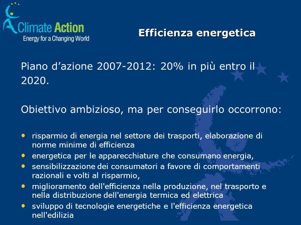 Piano dazione 2007-2012: 20% in più entro il 2020. Obiettivo ambizioso, ma per conseguirlo occorrono: risparmio di energia nel settore dei trasporti,