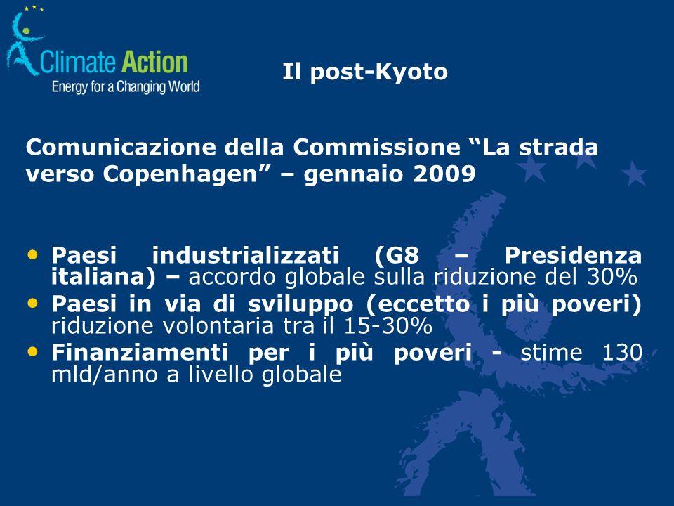 Il post-Kyoto Comunicazione della Commissione La strada verso Copenhagen – gennaio 2009 Paesi industrializzati (G8 – Presidenza italiana) – accordo gl
