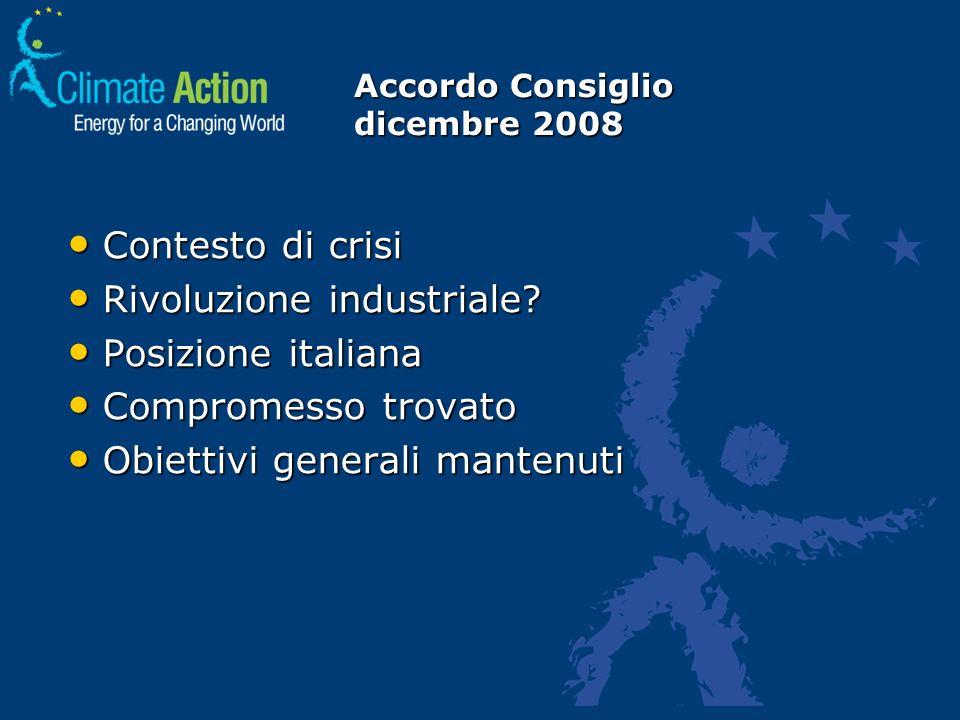 Accordo Consiglio dicembre 2008 Contesto di crisi Contesto di crisi Rivoluzione industriale? Rivoluzione industriale? Posizione italiana Posizione ita
