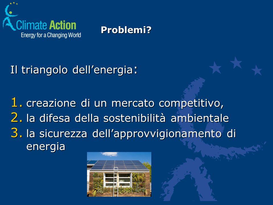 Problemi? Il triangolo dellenergia : 1. creazione di un mercato competitivo, 2. la difesa della sostenibilità ambientale 3. la sicurezza dellapprovvig