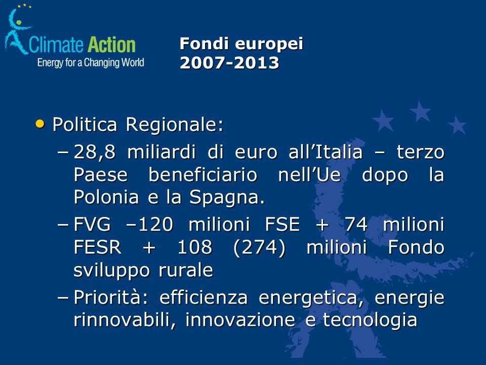 Fondi europei 2007-2013 Politica Regionale: Politica Regionale: – 28,8 miliardi di euro allItalia – terzo Paese beneficiario nellUe dopo la Polonia e