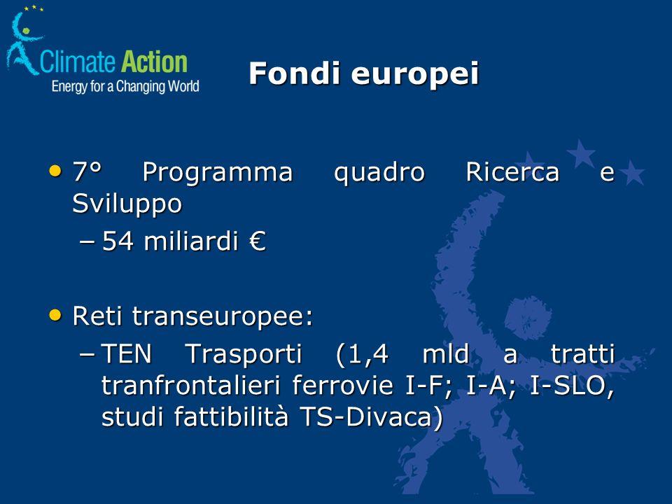 Fondi europei 7° Programma quadro Ricerca e Sviluppo 7° Programma quadro Ricerca e Sviluppo – 54 miliardi – 54 miliardi Reti transeuropee: Reti transe