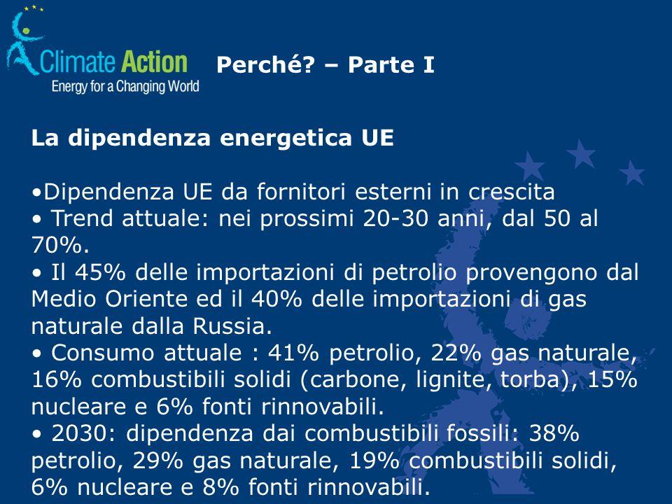 Perché? – Parte I La dipendenza energetica UE Dipendenza UE da fornitori esterni in crescita Trend attuale: nei prossimi 20-30 anni, dal 50 al 70%. Il