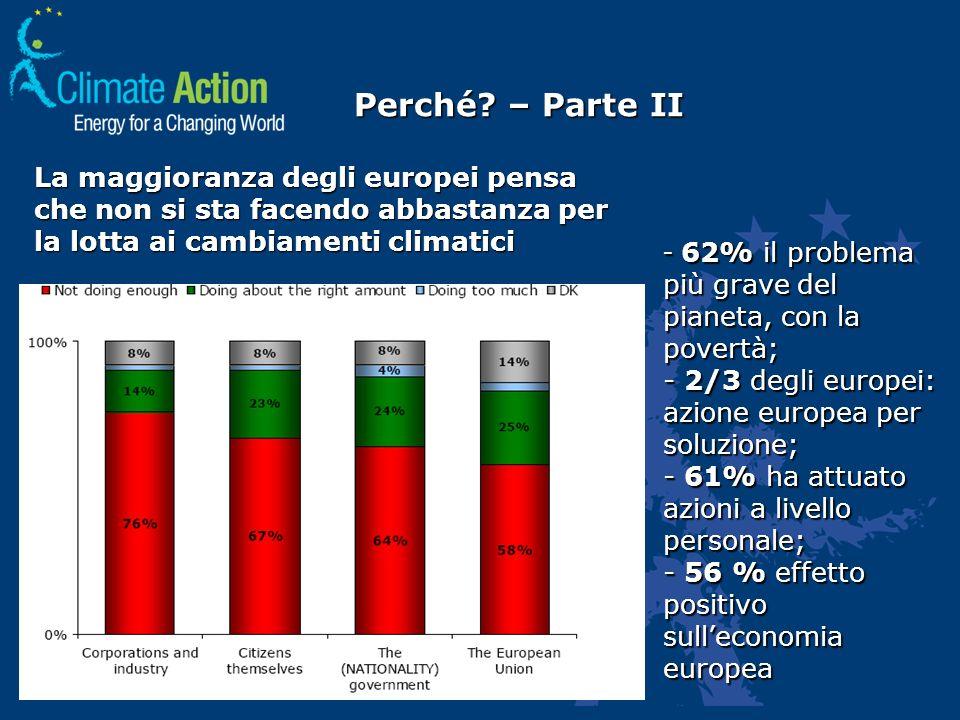 Perché? – Parte II - 62% il problema più grave del pianeta, con la povertà; - 2/3 degli europei: azione europea per soluzione; - 61% ha attuato azioni