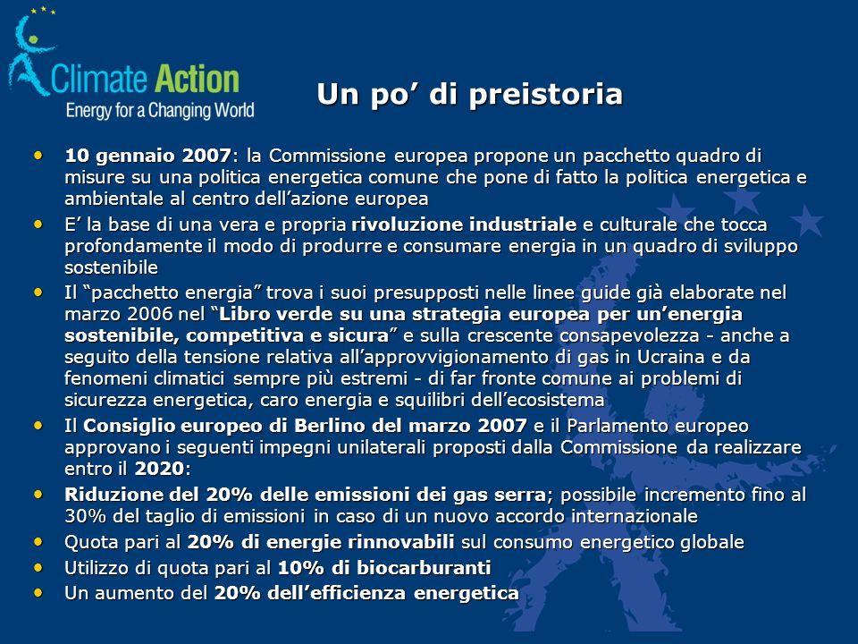 Un po di preistoria 10 gennaio 2007: la Commissione europea propone un pacchetto quadro di misure su una politica energetica comune che pone di fatto