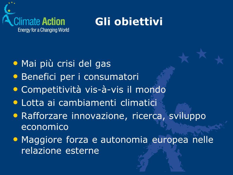 Gli obiettivi Mai più crisi del gas Benefici per i consumatori Competitività vis-à-vis il mondo Lotta ai cambiamenti climatici Rafforzare innovazione,