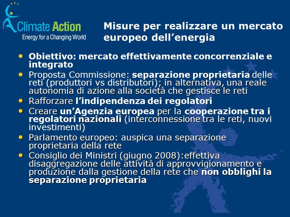 Misure per realizzare un mercato europeo dellenergia Obiettivo: mercato effettivamente concorrenziale e integrato ; in alternativa, una reale autonomi