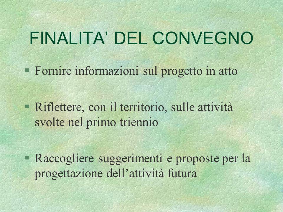 FINALITA DEL CONVEGNO §Fornire informazioni sul progetto in atto §Riflettere, con il territorio, sulle attività svolte nel primo triennio §Raccogliere
