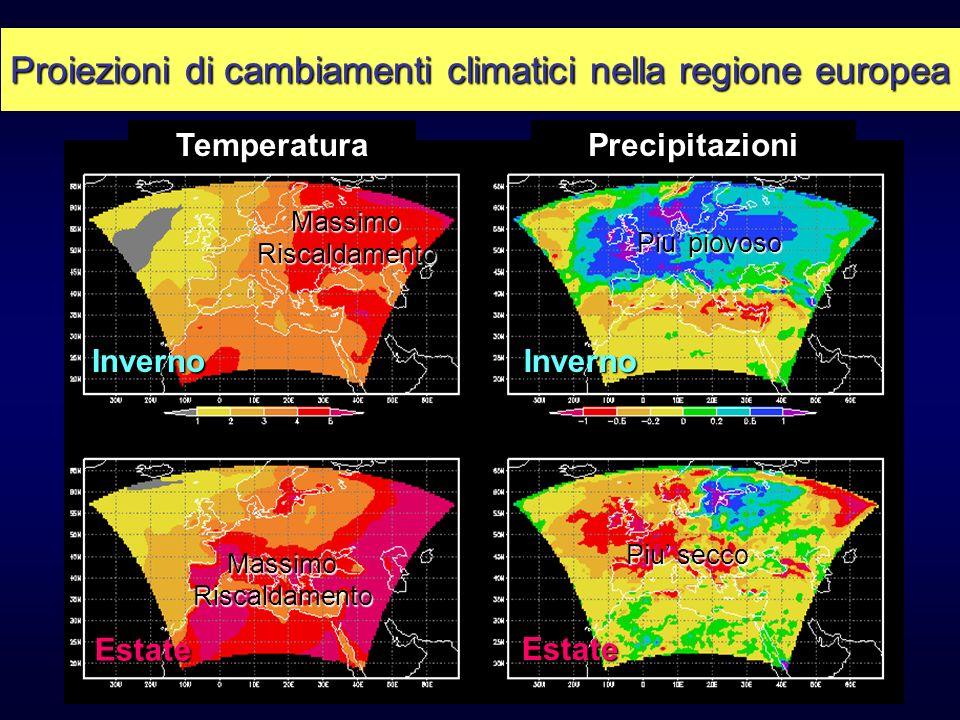TemperaturaPrecipitazioni Inverno Estate Inverno Estate MassimoRiscaldamento Piu piovoso Piu secco MassimoRiscaldamento Proiezioni di cambiamenti clim