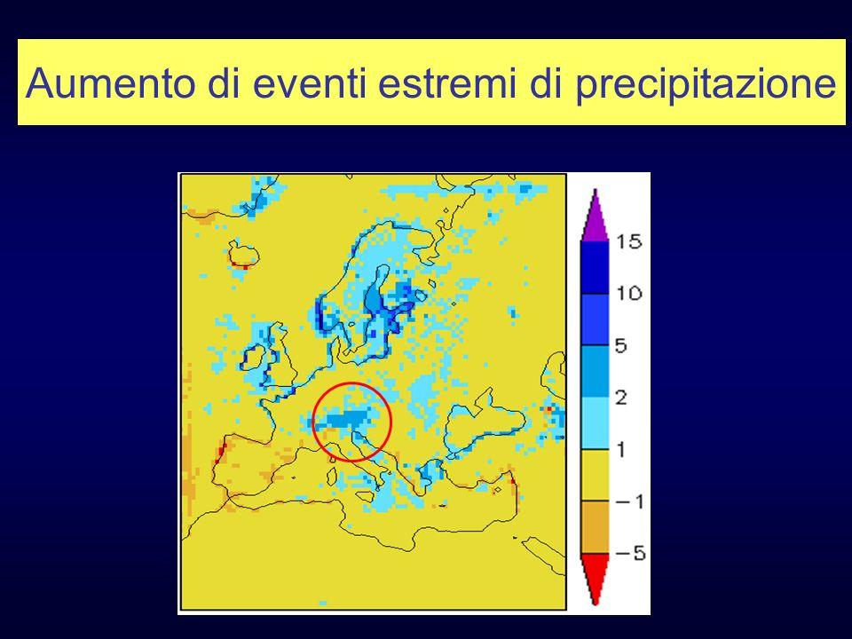 Aumento di eventi estremi di precipitazione