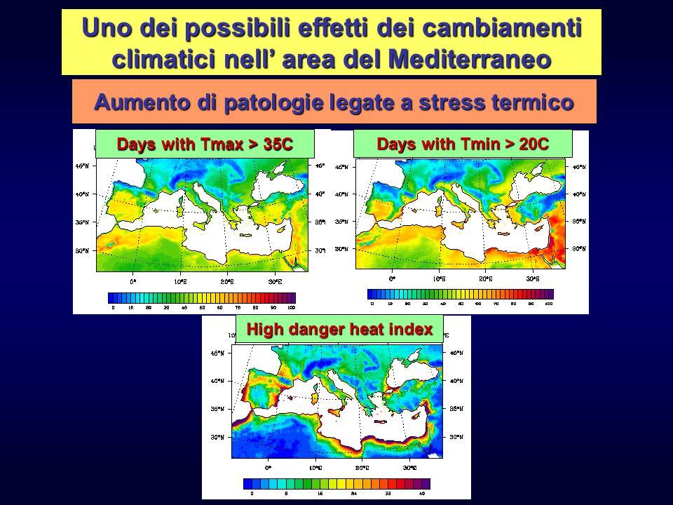 Uno dei possibili effetti dei cambiamenti climatici nell area del Mediterraneo Aumento di patologie legate a stress termico High danger heat index Day