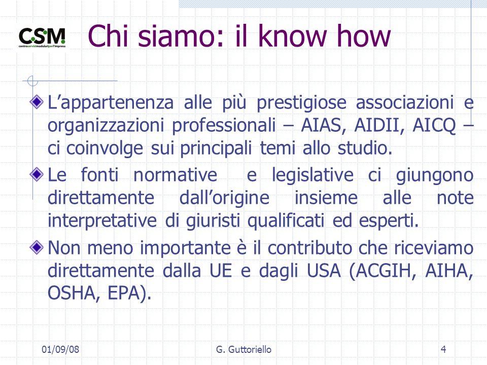 01/09/08G. Guttoriello4 Chi siamo: il know how Lappartenenza alle più prestigiose associazioni e organizzazioni professionali – AIAS, AIDII, AICQ – ci