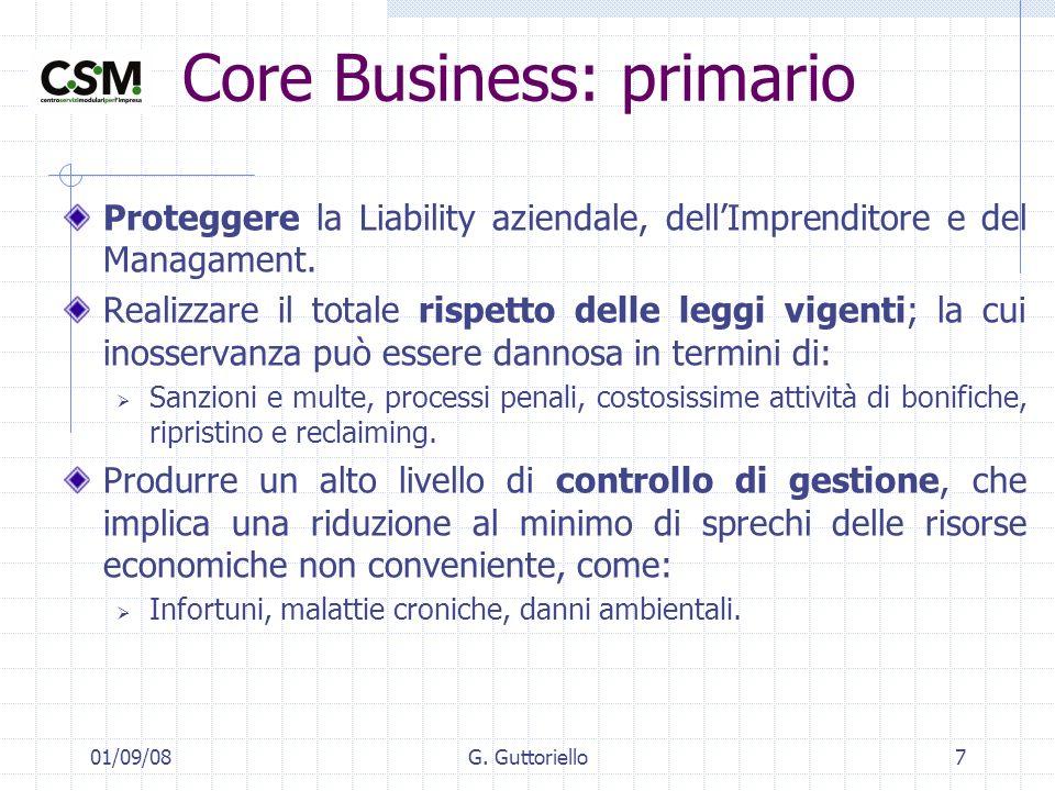 01/09/08G. Guttoriello7 Core Business: primario Proteggere la Liability aziendale, dellImprenditore e del Managament. Realizzare il totale rispetto de