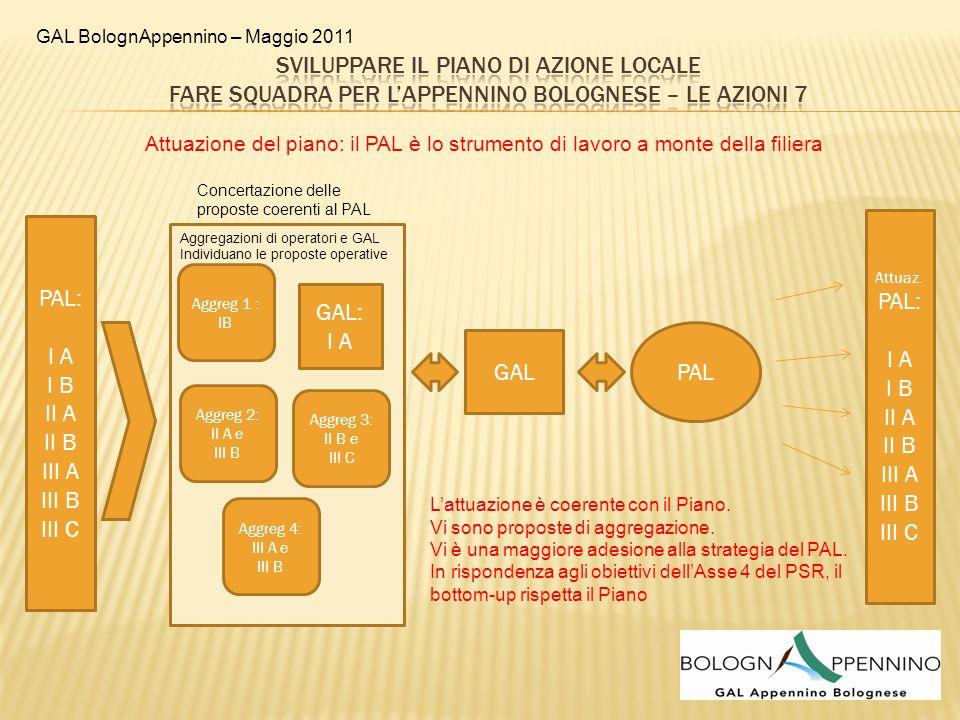 GAL BolognAppennino – Maggio 2011 GAL: I A PAL PAL: I A I B II A II B III A III B III C Aggreg 1 : IB Aggreg 2: II A e III B Aggreg 4: III A e III B A