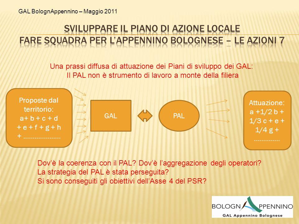 GAL BolognAppennino – Maggio 2011 GAL: I A PAL PAL: I A I B II A II B III A III B III C Aggreg 1 : IB Aggreg 2: II A e III B Aggreg 4: III A e III B Aggreg 3: II B e III C Concertazione delle proposte coerenti al PAL GAL Attuaz.