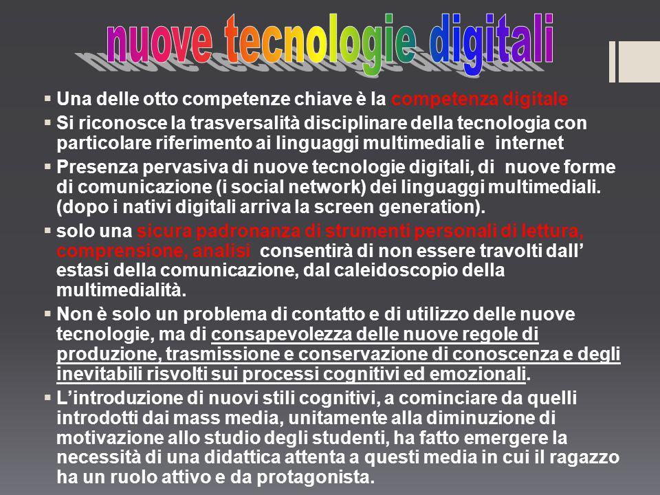 Una delle otto competenze chiave è la competenza digitale Si riconosce la trasversalità disciplinare della tecnologia con particolare riferimento ai l
