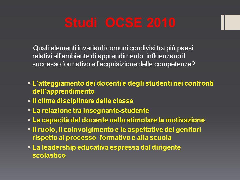 Studi OCSE 2010 Quali elementi invarianti comuni condivisi tra più paesi relativi allambiente di apprendimento influenzano il successo formativo e lac