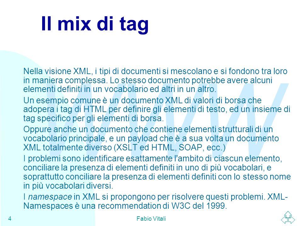 WWW Fabio Vitali5 Un esempio di namespace Supponiamo che Amazon Italia voglia mettere il proprio database su Web: Book Review 3 Uomini in barca Author Price Pages Date Jerome K.