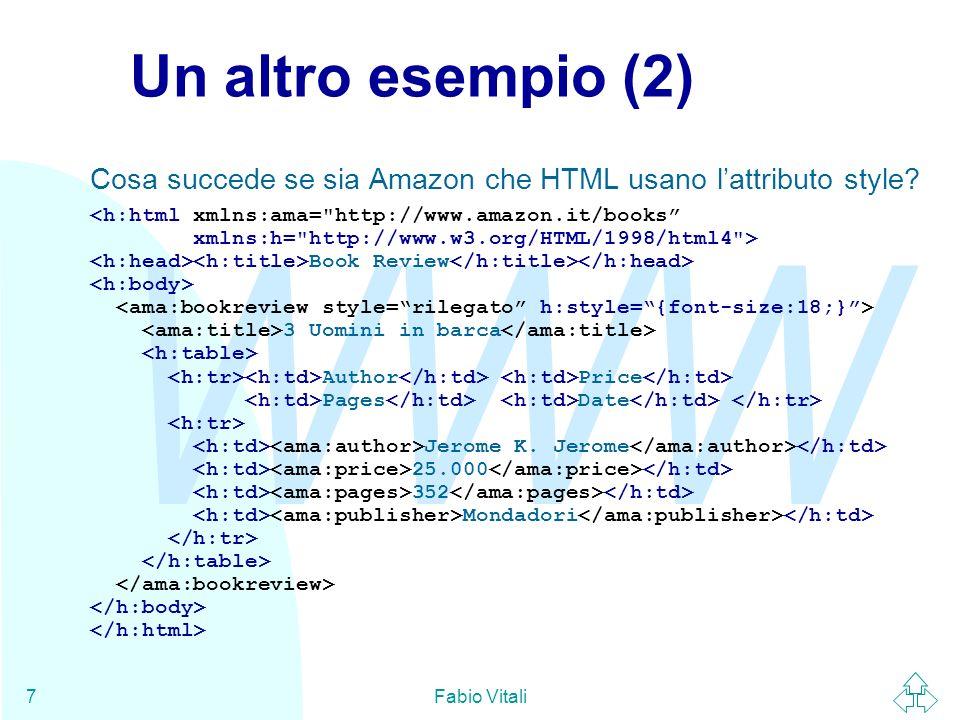 WWW Fabio Vitali7 Un altro esempio (2) Cosa succede se sia Amazon che HTML usano lattributo style? Book Review 3 Uomini in barca Author Price Pages Da