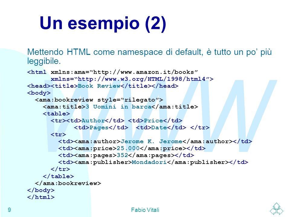 WWW Fabio Vitali9 Un esempio (2) Mettendo HTML come namespace di default, è tutto un po più leggibile. Book Review 3 Uomini in barca Author Price Page