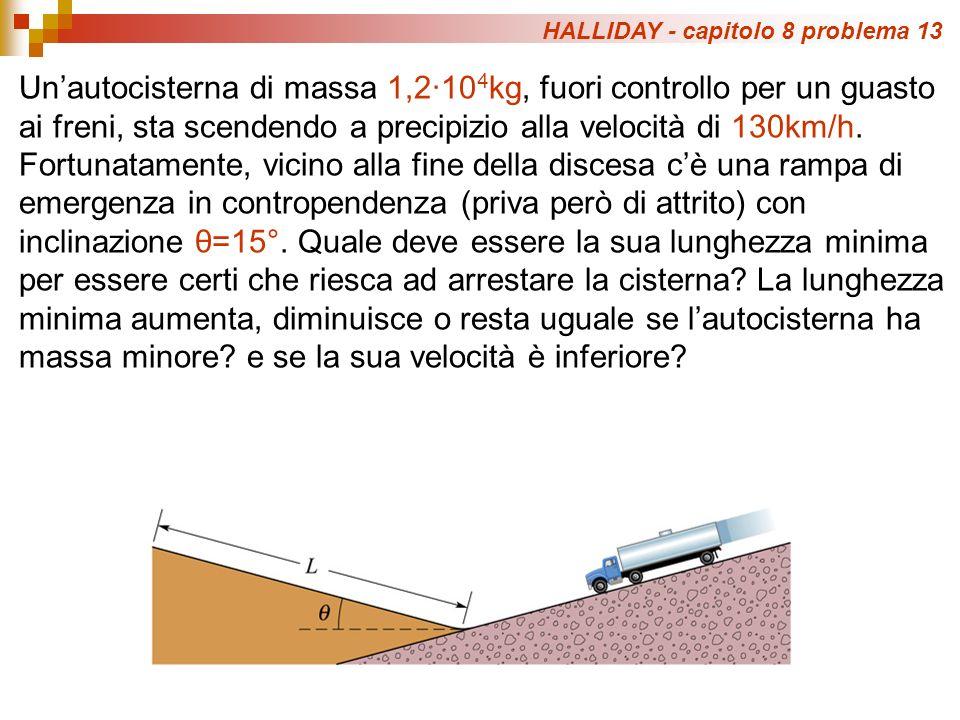 HALLIDAY - capitolo 8 problema 13 Unautocisterna di massa 1,2·10 4 kg, fuori controllo per un guasto ai freni, sta scendendo a precipizio alla velocità di 130km/h.