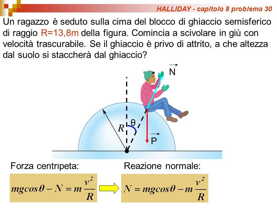 HALLIDAY - capitolo 8 problema 30 Un ragazzo è seduto sulla cima del blocco di ghiaccio semisferico di raggio R=13,8m della figura.