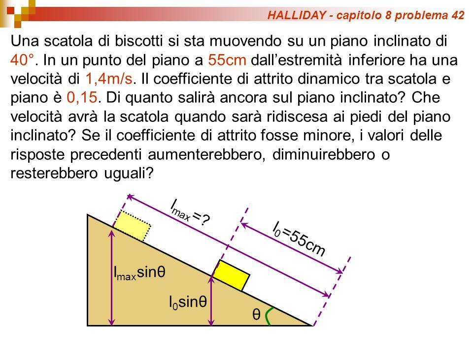 HALLIDAY - capitolo 8 problema 42 Una scatola di biscotti si sta muovendo su un piano inclinato di 40°.