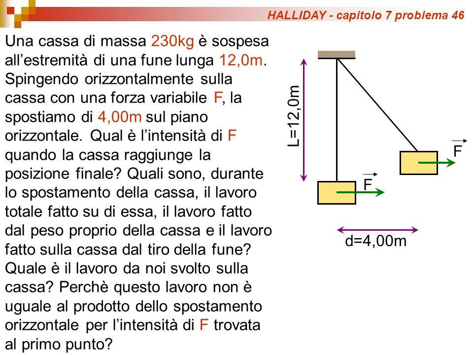 HALLIDAY - capitolo 7 problema 46 Una cassa di massa 230kg è sospesa allestremità di una fune lunga 12,0m.